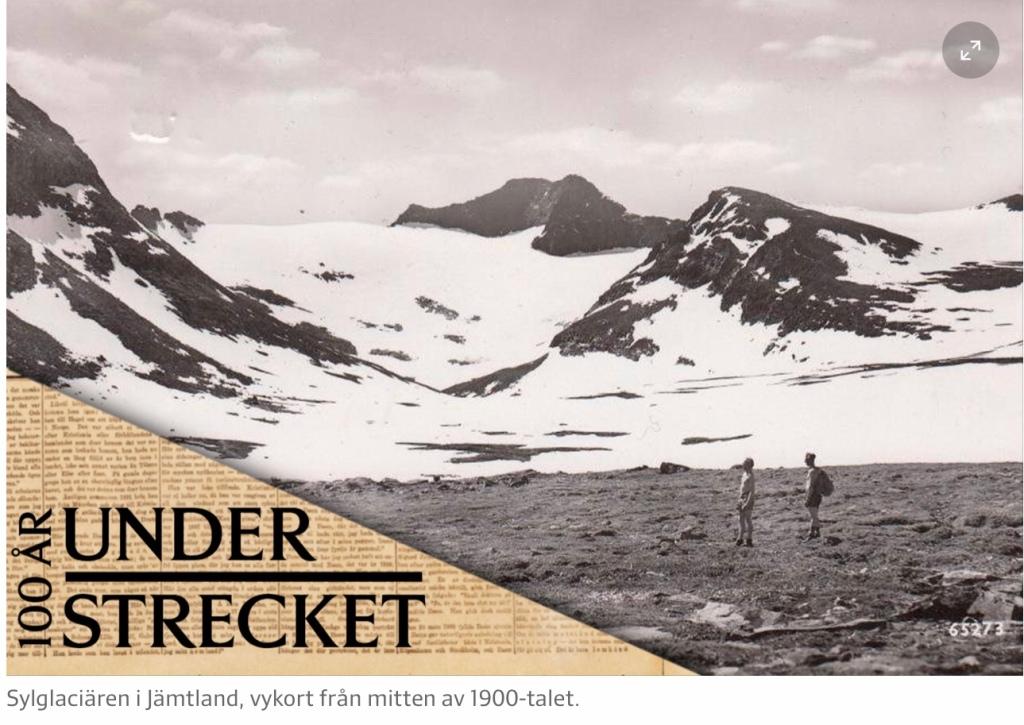 Sylglaciären i Jämtland på vykort från mitten av 1900-talet